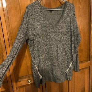 Marled gray sweater with white zipper detail